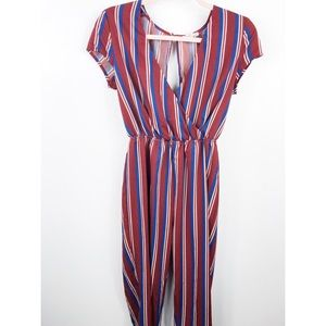 Red and blue jumpsuit